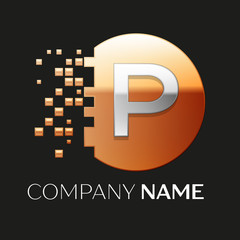 Realistic Silver Letter P logo symbol in the golden colorful pixel circle shape with shattered blocks on black background. Vector template for your design