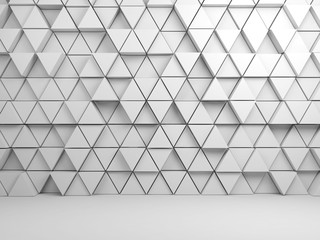 Triangles pattern on front wall, 3d render