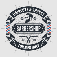 Barber shop vintage label, badge, or emblem on gray background. Vector illustration
