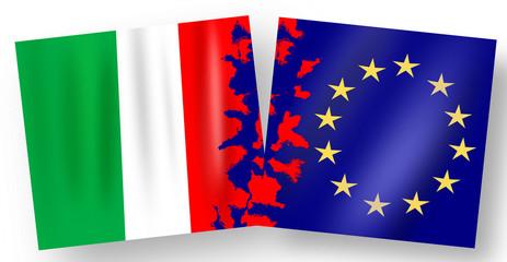bandiera, Italiana e unione Europea, frattura, rottura.