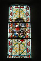 Vitrail de l'église Notre-Dame, Ville de Genêts, département de la Manche, France