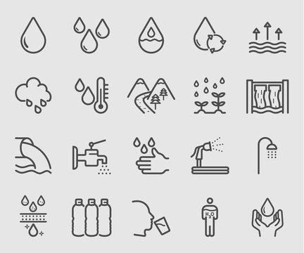 Line icons set for Water for life