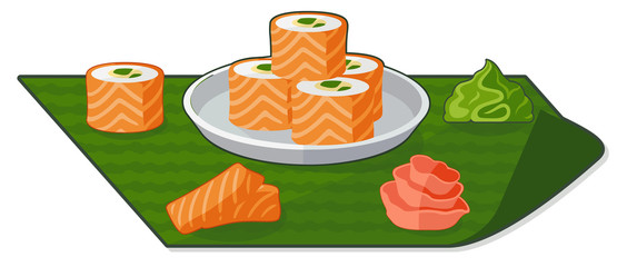 Flat illustration with rolls, wasabi and ginger