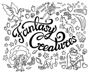 Beautiful collection of fantasy black and white doodle arts and lettering