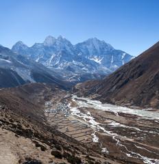 Pangboche village on the way to Everest base camp, Nepal Himalaya
