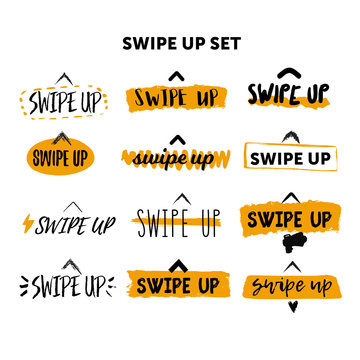 Swipe up icon set isolated on white background with grunge yellow stains for social media stories vector.