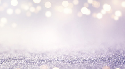 Fototapete - Blue glitter and gold lights bokeh abstract background. defocused, holiday concept