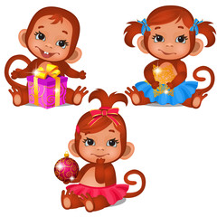 Set of cute children monkey playing with Christmas gifts isolated on a white background. Sketch of Christmas festive poster, party invitation, other holiday card. Vector cartoon close-up illustration.