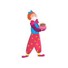 Funny clown in beautiful color clothes. Cute clown fun and entertains the audience.