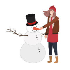 woman with snowman avatar character