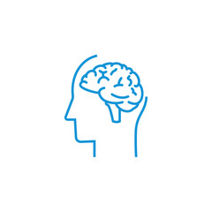 Human profile with brain vector icon. Idea symbol. Thinking concept in flat style for graphic design