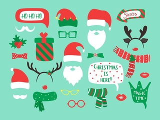 Christmas and New Year vector photo booth props and design elements. Vector illustration.