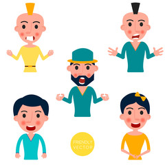Set of avatars characters with a different emotions. Vector illustration