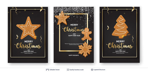 Set of Christmas and New Year banner templates.