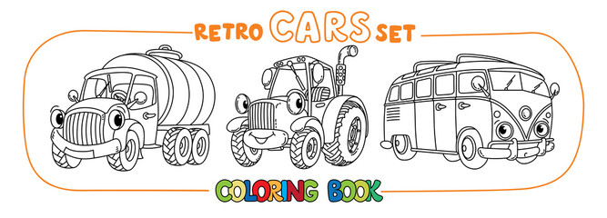 Funny small retro cars with eyes coloring book set