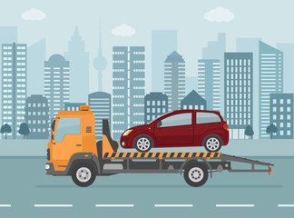 Broken car on tow truck, on city background. Flat style vector illustration.
