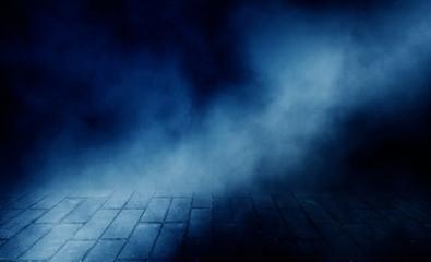 Background of empty room, street, neon light, smoke, fog, asphalt, paving tiles