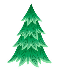Green spruce tree. Evergreen flat style. Christmas tree without decorations. Vector illustration isolated on white background