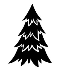 Black silhouette. Spruce tree. Evergreen flat style. Christmas tree without decorations. Vector illustration isolated on white background