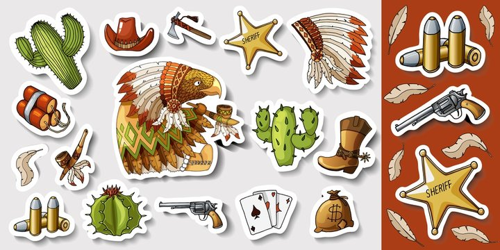 Western wild west art stickers set. Gun, bullets, dynamite and many other items