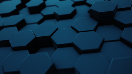 Abstract moving hexagonal background, seamless 3d illustration