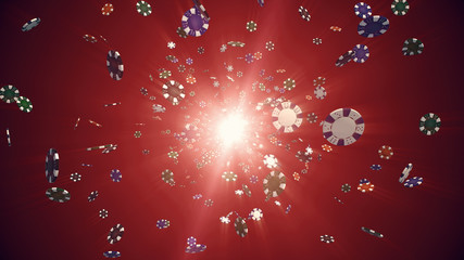 Flying casino chips in camera with rays of light on a colorful background 3d illustration