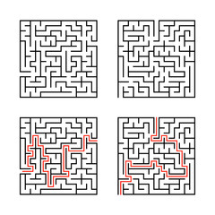A set of square mazes. Game for kids. Puzzle for children. Labyrinth conundrum. Flat vector illustration isolated on white background. With answer.
