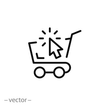 online shopping, cart, line sign, icon vector