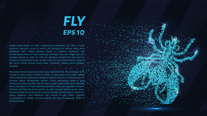 Fly blue points of light. The fly is made up of particles. Vector illustration.