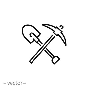 pickaxe shovel icon vector
