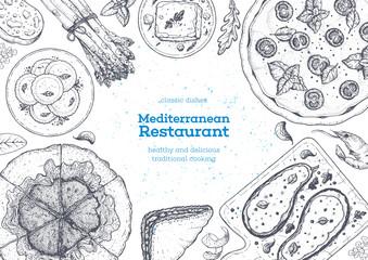 Mediterranean cuisine top view frame. A set of mediterranean dishes . Food menu design template. Vintage hand drawn sketch vector illustration