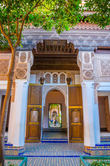 Exterior the beautiful Bahia palace  in Marrakech, Morocco, Africa.