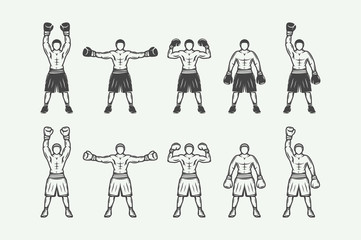 Set of vintage retro boxers and mma fighters silhouettes. Can be used for logo, badges, emblems, marks, posters and other design. Monochrome Graphic Art. Vector Illustration.