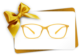Fotomurales - eyeglasses gift card, spectacles and golden ribbon bow, isolated on white background