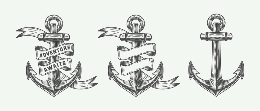 Set of vintage retro anchors in retro style with adventures typography. Monochrome graphic Art. Vector Illustration.