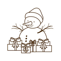 gift boxes and snow man isolated icon