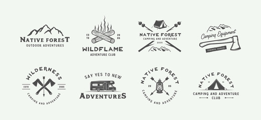 Set of vintage camping outdoor and adventure logos, badges, labels, emblems, marks and design elements. Graphic Art. Vector Illustration.