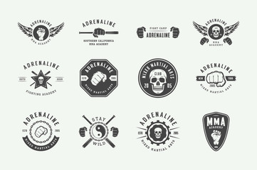 Set of vintage mixed martial arts or fighting club logos, emblems, badges, labels, marks and design elements. Retro graphic art. Vector Illustration. Wall mural