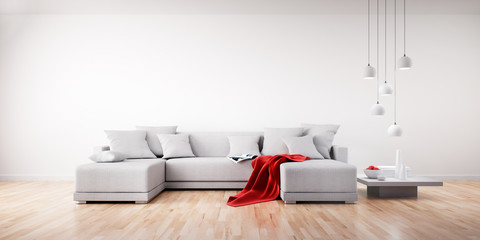 Sofa mit roter Decke in hellem Raum 1