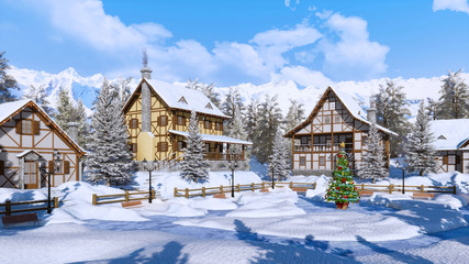 Wall Mural - Outdoors decorated Christmas tree on square of snowbound alpine mountain village with traditional european half-timbered houses at frosty winter day. 3D illustration.