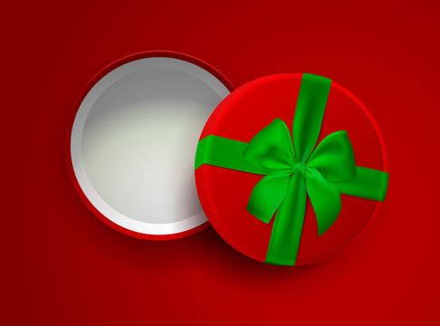 Opened red empty gift box with green ribbon and bow isolated on red background. Top view. Template for your presentation design, banner, brochure or poster. Vector illustration.