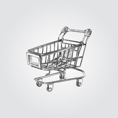 Hand Drawn shopping cart Sketch Symbol isolated on white background. Vector shopping cart In Trendy Style. Supermarket hand drawing sketches elements