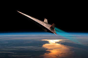 Unmanned Scramjet in high Earth flight No.2h - Elements of this image courtesy of NASA