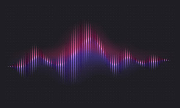 Abstract sound wave. Voice digital waveform, volume voice technology vibrant wave. Music sound energy vector background. Equalizer volume, waveform electronic light illustration
