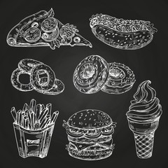 Hand drawn popular fast food on blackboard vector illustration. Fast food menu blackboard, sandwich and snack