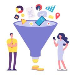 Sale funnel. Lead management optimization and generation. Sale conversion vector illustration. Marketing funnel conversion, business management