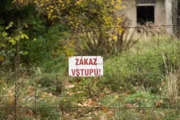 "Sign on the fence saying ""Zákaz vstupu"" in Slovak - ""Entry prohibited"" in English. Slovakia"