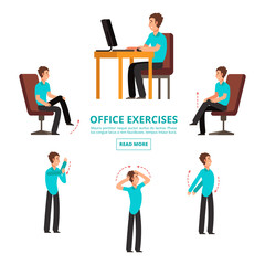 Office exercises info of set vector illustration. Office body exercise, stretching and tension for health