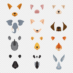 Video mobile chat animal faces. Cartoon animals masks isolated on transparent background. Vector face bunny and zebra, hare and tiger illustration