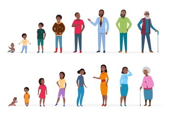 African american people of different ages. Man woman baby kids teenagers, young adult elderly persons. African family vector characters. Illustration people process woman and man, growing generation